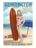Huntington Beach  California - Pinup Surfer Girl