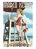 Marco Island  Florida - Pinup Girl Lifeguard