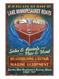 Lake Winnipesaukee  New Hampshire - Vintage Boat Sign