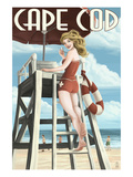 Cape Cod  Massachusetts - Llifeguard Pinup Girl