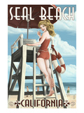 Seal Beach  California - Lifeguard Pinup