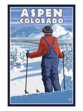 Skier Admiring - Aspen  Colorado