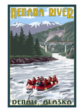 Nenana River  Alaska - River Rafters and Railroad