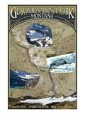 Glacier Scenes Topographical Map - Glacier National Park  Montana