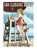 San Clemente Beach  California - Lifeguard Pinup