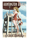 Huntington Beach  California - Lifeguard Pinup