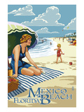 Mexico Beach  Florida - Woman and Beach Scene