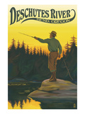 Deschutes River - Bend  Oregon - Fisherman Casting