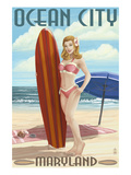 Ocean City  Maryland - Surfer Pinup Girl