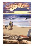 Santa Monica  California - Sunset Beach Scene