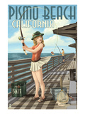 Pismo Beach  California - Fishing Pinup Girl