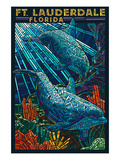 Ft Lauderdale  Florida - Dolphin Paper Mosaic