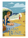 Pismo Beach  California - Woman and Beach Scene