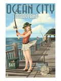 Ocean City  Maryland - Fishing Pinup Girl