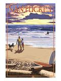 Nantucket  Massachusetts - Sunset Beach Scene