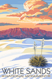 White Sands National Monument  New Mexico - Sunset Scene