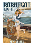 Barnegat Light  New Jersey - Pinup Girl Sailing