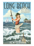 Long Beach Island  New Jersey - Pinup Girl Fishing