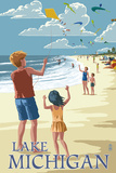 Lake Michigan - Children Flying Kites