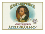 Ashland  Oregon - Shakespeare Cigar Box Label