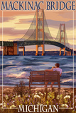 Mackinac Bridge and Sunset, Michigan Reproduction d'art par Lantern Press