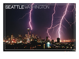 Seattle  Washington - Skyline and Lightening Strike