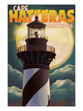 Cape Hatteras Lighthouse with Full Moon - Outer Banks  North Carolina