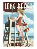 Long Beach  California - Lifeguard Pinup