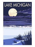 Lake Michigan - Full Moon Night Scene