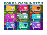 Forks  Washington - Town Welcome Sign Pop Art
