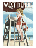 West Dennis  Massachusetts - Lifeguard Pinup Girl