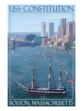 USS Constitution and Boston Skyline