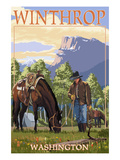 Winthrop  Washington - Cowboy and Horse in Spring