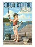 Coeur D&#39;Alene  Idaho - Fishing Pinup Girl