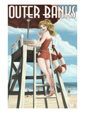 Outer Banks  North Carolina - Lifeguard Pinup Girl