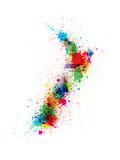 New Zealand Paint Splashes Map Reproduction d'art par Michael Tompsett