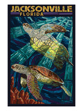 Jacksonville  Florida - Sea Turtle Paper Mosaic