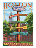 Boston  Massachusetts - Freedom Trail Sign Destinations