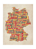 Text Map of Germany Map Reproduction d'art par Michael Tompsett