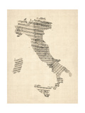 Old Sheet Music Map of Italy Map