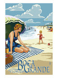 Boca Grande  Florida - Woman and Beach Scene