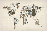 Musical Instruments Map of the World Reproduction d'art par Michael Tompsett