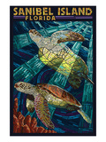Sanibel Island  Florida - Sea Turtle Paper Mosaic