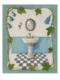 Bell Flower Bath II on Ivory