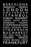 Europe Cities Bus Roll Reproduction d'art par Michael Tompsett
