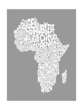 Map of Africa Map, Text Art Reproduction d'art par Michael Tompsett
