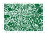 London England Street Map Reproduction d'art par Michael Tompsett