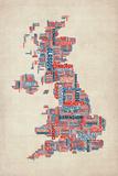 Great Britain UK City Text Map Reproduction d'art par Michael Tompsett