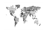 Monotone Text Map of the World