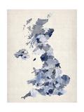 Great Britain UK Watercolor Map Reproduction d'art par Michael Tompsett